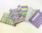 20 mini note cards with envelopes purple green gift enclosures -gift cards - handmade by Wcards