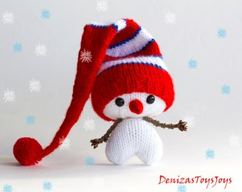 Hearty Snowman - pdf knitting pattern. Knitted in the round. Christmas Ornament. New year ornament.