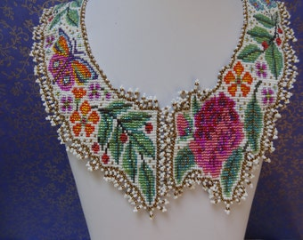 Large Spring Garden Collar, Bright Sparkling Flowers on a Mat White Background, Hidden Front Clasp, Bead Woven Collar