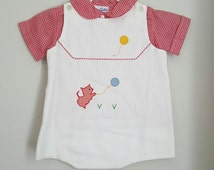 Vintage Boys White Romper with Cat and Balloons and Red Gingham Shirt by Jayne Copeland- Size 24 months- New, never worn