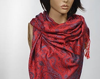 RED Paisley Long Pashmina Scarf or Shawl. Fashion accessories. Christmas Scarf. Long scarf wrap.
