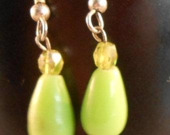 Avocado green crystals and pear shaped beaded earrings,dangling earrings,geometric shaped earrings
