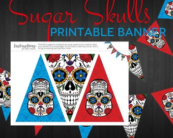 Party Printable Banner - Sugar Skull Halloween Pennant Bunting Banner - Instant Download