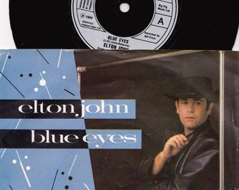 "ELTON JOHN Blue Eyes 1982 Uk Issue 7"" 45 rpm Vinyl Single Record Classic Rock Pop 80s xpres71 *SALE 45s*"