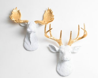 White Faux Taxidermy Minis Gift Set - Faux Animal Decor - White w/Gold Deer + Moose Head Wall Art - Resin Animal Heads & Wall Decor by WFT