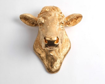 Cow Head Decor by White Faux Taxidermy - The Bessie - Cow Head Wall Mount - Farm Animal Decorations - Cattle Decor - Farmhouse Wall Decor