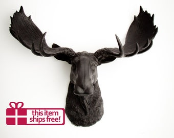 Faux Moose Head in Black - The Leonard - Black Resin Moose Head- Black Wall Sculptures & Decor - Chic Wall Hangings by White Faux Taxidermy