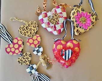 Valentine Heart Gift or Decor, Hand Painted Hearts Set of 5 Paper Mache and Wood Valentine Hearts, Leopard Hearts, Check Hearts