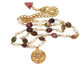 """Watermelon Tourmaline Necklace Pearl Station Necklace Flower Necklace Watermelon Tourmaline Oval Long Necklace 18"""" Necklace"""