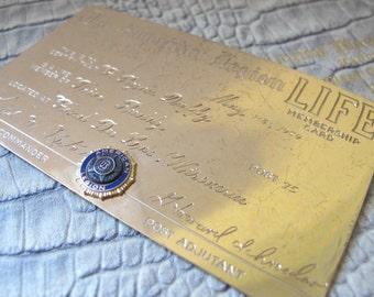 "10k Yellow Gold ""American Legion LIFE Membership Card"" May 1959 Fon Du Lac Wisconsin, Mens Clubs Member Fraternal Clubs Lodges Organizations"
