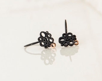oxidized silver earrings with rose golden detail