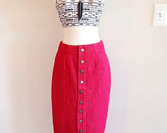 Vintage 1980s Snap Front Red Pencil Skirt very New Wave