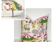 Circus Print Pillow Cover Green, Pink, Lime-Green, Yellow, Gray, Accent Zipper On Back, Square, Lumbar For Baby & Child