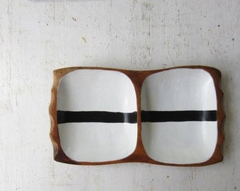 Vintage Wood Divided Dish with Hand Painted Black and White Stripes - Vintage Modern Home Decor