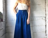The Transition 1980s Denim Indigo Culottes Cropped Jeans 31