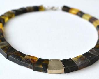 Baltic Amber Necklace / Dark Amber Silver / Bohemian Style / Rustic Brown Amber Jewelry