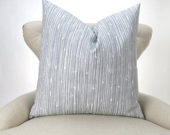 Ready to ship! Gray Pillow Cover - white line pattern, Scribble Storm by Premier Prints - for a 16x16, 28x28 pillow