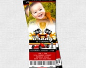 Race Car Ticket Birthday Invitation - Racing Go-Kart Party - (print your own) - Personalized Printable Files with Photo
