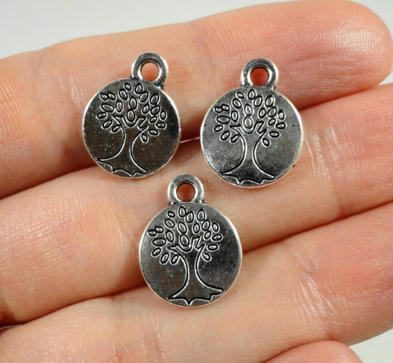Silver Tree Charms 15x11mm Antique Silver Tree of Life Charms, Small Round Tree Charms, Nature Charms, Tree Pendants for Jewelry Making 10pc
