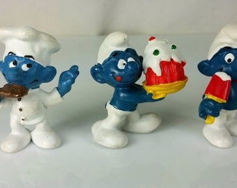Vintage Smurf Lot Schleich Peyo Figurines 1970s Hong Kong W. Germany Cake, Chef, Ice Lolly Popsicle, Dessert