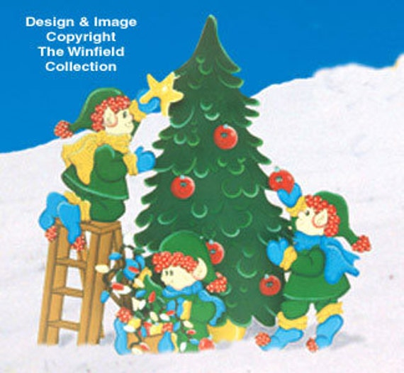 Christmas Carolers Wood Outdoor Yard Art By Chartinisyardart: Christmas Elves Trimming The Tree 4 Piece By ChartinisYardArt