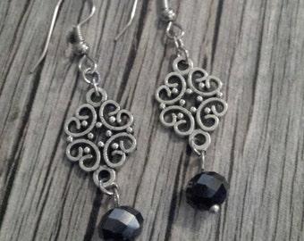 Black Crystal Earrings, Black Filigree Crystal Earrings, Black Crystal Dangle Earrings, Crystal Filigree Earrings, Silver Dangle Earrings