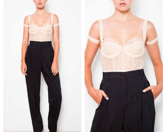 chic 80's/90's DOLCE & GABBANA tailored charcoal grey wool bland pinstripe pants trousers