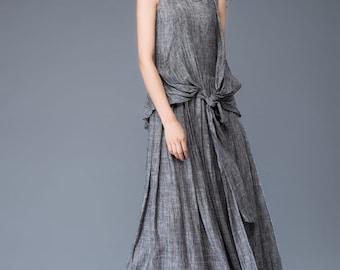 linen dress, gray dress, maxi dress, womens dresses, dress, long dress for women, sleeveless dress, linen dress woman, gray dressy tops C934