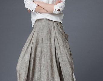 Maxi linen skirt women long skirt  C871