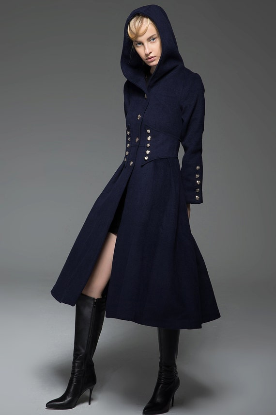 Military Coat hooded coat military style coat long hooded