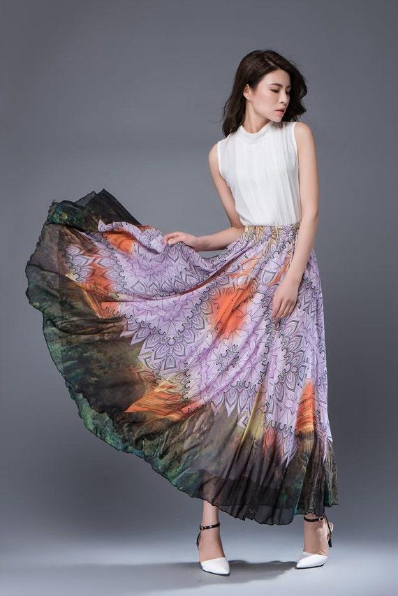 Maxi chiffon skirt long women's skirt C894