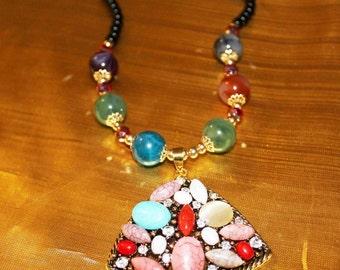 SALE! Dashing Exquisite Designer Multi Color Lucite Cabochon Rhinestone Necklace NP