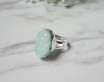 Green Agate Druzy Drusy Silver Plate Mineral Ring Raw Gemstone Rough Statement Adjustable Ring