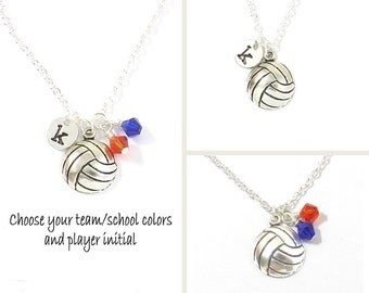 Volleyball Team Necklace, Volleyball Necklace, Volleyball Jewelry, Team Colors School Colors Personalized Sport Volleyball Gift Team Jewelry