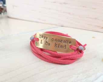 Have courage and be kind coral red leather wrap bracelet