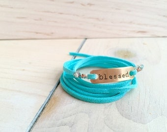 Blessed turquoise leather wrap bracelet teal