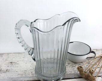 Heavy Pressed Cut Glass Vintage Milk Pitcher