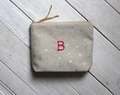 Personalized Make-Up bag, Cosmetic bag, Monogrammed, Bridesmaid gift, gold polka dots