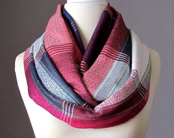 Plaid Infinity Scarf , navy , rusty red scarf, circle scarf, loop scarf, eternity scarf, pashmina scarf , Christmas gift