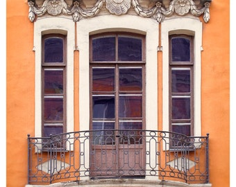 Orange wall art, Window photography, Architectural print, vertical large wall art, living room decor, 11x14, 12x16, 16x20,18x24, 24x30 photo