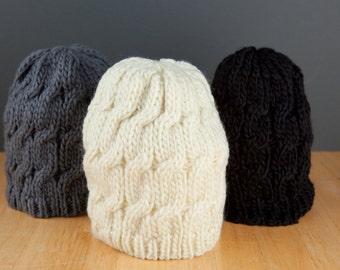 3 Colors! Adult/Teen Braided Beanie Hat