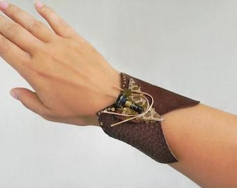 Steampunk leather wrist cuff Brown leather wide bracelet, Steampunk Jewelry Assemblage art jewelry Industrial-Contemporary jewelry Wide cuff