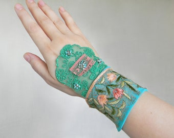Textile Cuff wide bracelet Wrist cuff, Shabby chic Flower lace fabric cuff in Mint-Green-Turquoise, Fabric cuff Textile jewelry Arm Cuff
