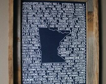 Beers of Minnesota Word Map (Dark Blue) - Unframed
