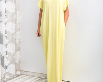 Yellow Maxi Dress, Caftan, Abaya, Summer Dress, Yellow Plus-Size Dress, Beach Dress, Beach Cover-Up