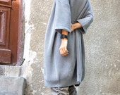 NEW Oversize Grey Mid Sleeve Fully Knit  Vest / Fully Knit Top / Maxi Open Overall / Soft and Comfortable by  AAKASHA A06351