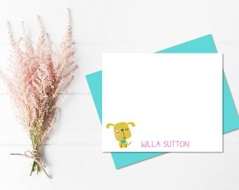 Personalized Stationery Set for Girls | Childrens Stationary | Dog Notecards | Dog Thank You Card | Dog Stationary