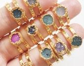 Leinani ring -  gold druzy ring, gold ring, cuff ring, gold double ring, gold cuff ring, mineral ring, hawaii jewelry, druzy jewelry, boho