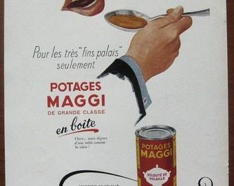 Maggi, 1952, vintage, ad, original, soup, French, food, decoration, kitchen, free shipping, paper, ephemera