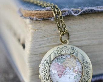 Vintage Map Locket Necklace,  Antique Bronze Long Chain Locket, Boho Necklace, Wanderlust Necklace, Memento Necklace, Picture Necklace